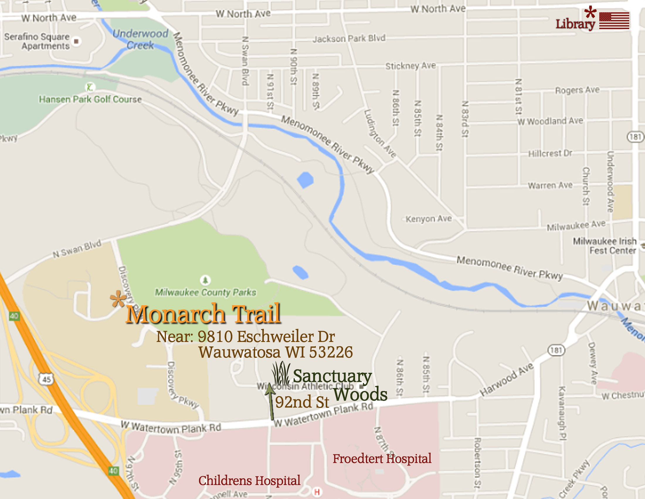 Froedtert Campus Map.Monarch Trail Wauwatosa County Grounds